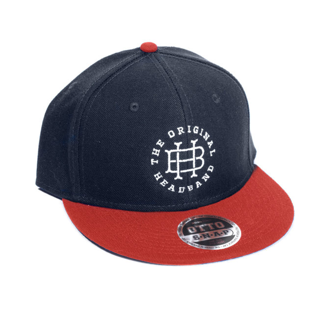 Navy & Red Embroidered Snapback hat discreetly celebrating the famous Headband cannabis strain.
